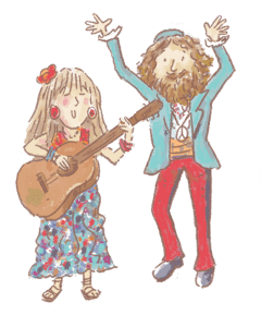 man and woman sing together